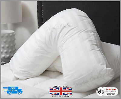 Luxury Duck Feather & Down V Shape Pillows Neck, Back Support **Special Offer**