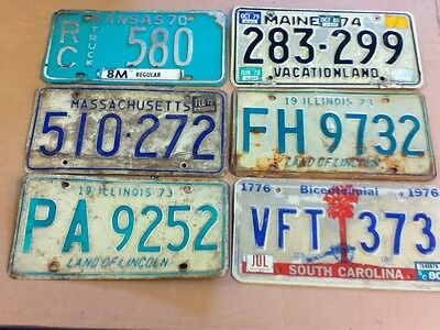 1970's 6 Vintage License Plates Mixed States Variety Rustic Modern Lot # 4