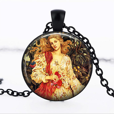 Flora, Roman Goddess Black Glass Cabochon Necklace chain Pendant Wholesale