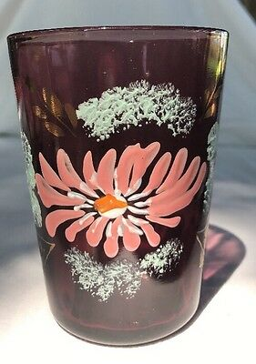 Antique VICTORIAN Floral Hand Painted Enamel PURPLE AMETHYST Water Tumbler Glass