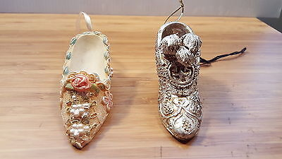 Lot 2 Ceramic Victorian Shoe Hanging Christmas Ornaments Pearls Feather Ornate