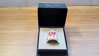 VTG ROYAL WORCESTER BONE CHINA THIMBLE FRUIT and FLOWERS w BOX MADE IN ENGLAND