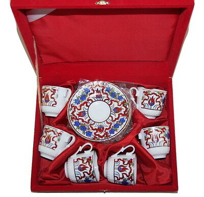 12 Piece Turkish Porcelain Red Floral Fine Bone China [Cups, Saucers & Gift Box]