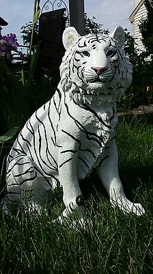 Large White Tiger Statue Jungle Cat  Garden House Home Decor