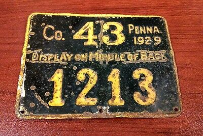 1929 Pennsylvania PA PENNA Hunting License Mercer County CO 43
