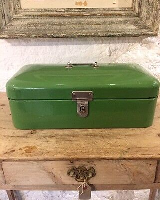 Original Old Vintage Dutch Enamel Bread Bin Great Condition