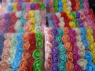 50 PCS Mix Colour Foam Roses Artificial Flower Wedding Bride Bouquet Party Decor