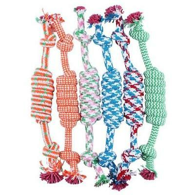 NEW Lovely Puppy Dog Pet Chew Toy Cotton Braided Bone Rope Color Chew Knot Z1V7