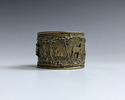 Antique Brass Repose Decorated Hunting Scene Napkin Ring