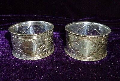 Matching Antique Pair 'papa' & 'mamma' Silver Plated Napkin Rings