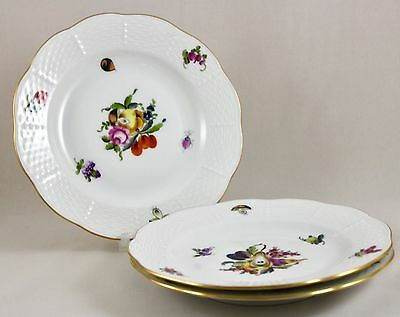"Herend Porcelain Fruits & Flowers Bfrn 6½"" Side/tea/bread Plates 516 X 3 1St"