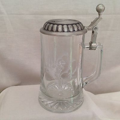 Heavy Glass Etched Golf Themed Tankard With Pewter Lid