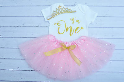 Baby girl first 1st birthday tutu outfit cake smash handmade  pink gold