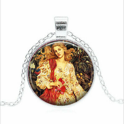 Flora, Roman Goddess Tibet silver Glass dome Necklace chain Pendant Wholesale