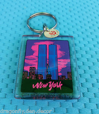 Lucite Key Chain w/ Tag - New York, NY World Trade Center/Twin Towers PRE 9-11