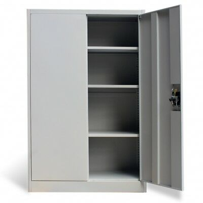 Metal Office Storage Cupboard Filling Cabinet 2 Door Shelves Grey Furniture