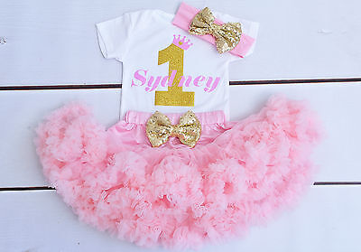 Personalised First 1st Birthday Tutu outfit baby girl cake smash