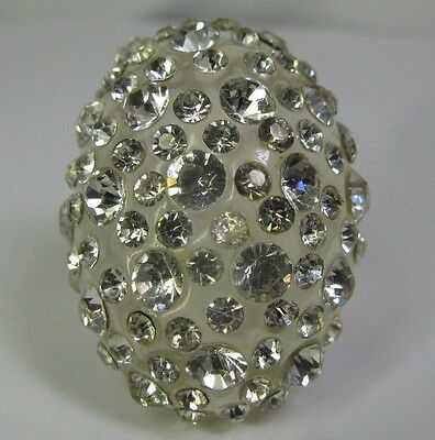 Big Chunky Clear Lucite & Rhinestone Encrusted Ring - Dome Top - Size 5.75