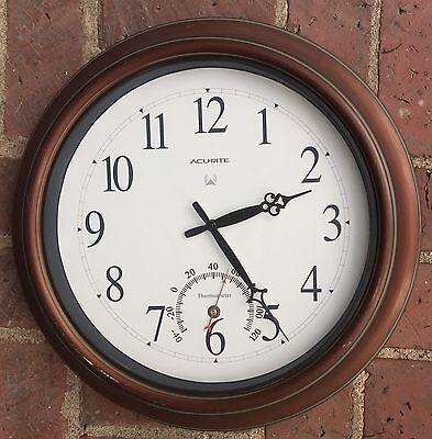 """Acurite 18"""" Copper Patina Indoor Outdoor Atomic Clock w/ Thermometer"""