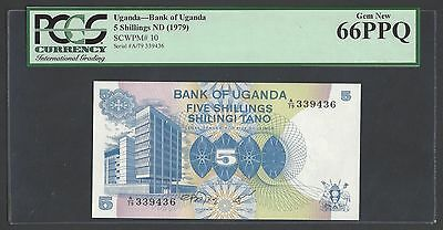 Uganda 5 Shillings ND(1979) P10 Uncirculated Graded 66