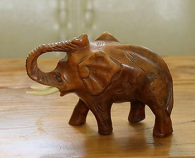 Small Hand Carved Wood Elephant Trunk Up Complete With Tusks