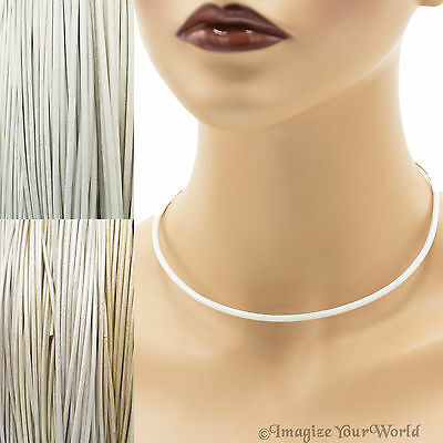 3 mm White+ Leather Cord Necklace or Choker Custom Length ur colors Handmade USA