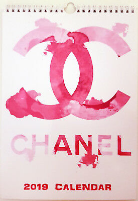 Chanel Watercolor Wall Calendar 2018 Fashion Glamour A4 New Sealed
