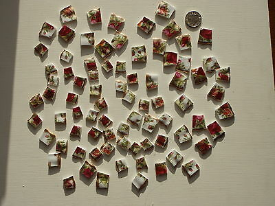 Royal Albert Old Country Roses 80 Hand Cut Vintage China Mosaic Tiles Art/Craft
