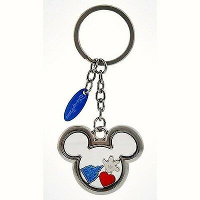 Disney Mickey Icon with Castle Heart and Mickey's Hand Inside Metal Keychain New • $10.95