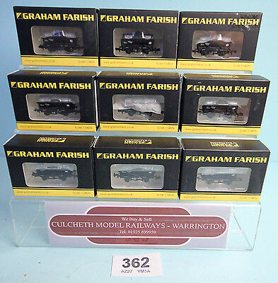 Graham Farish 'n' Rake Of 9X 373-675A 14T Tank 'mobil' Wagons Boxed #362