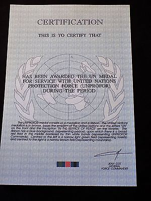 United Nations Unprofor Official Medal Certificate - Mint Condition