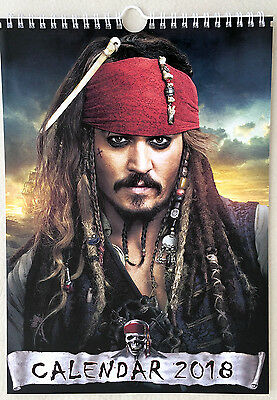 Jack Sparrow Pirates of the Caribbean Wall Calendar 2018 A4 New Sealed