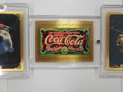 Set of 5 999.9 gold Coca Cola collector cards. Assayed by Mitsubishi 1 gram 24KT