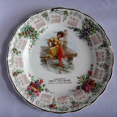 Antique 1910 Calendar Plate w Victorian Lady Advertising Promotional