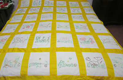 Vintage Embroidered Flower State Quilt Top All Hand Stiched No Holes Or Spots