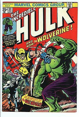 Incredible Hulk #181 Vol 1 Near Perfect High Grade Unrestored 1st App Wolverine