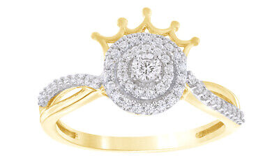 1/3 Ct Round Cut Natural Diamond 10K Yellow Gold Double Frame Engagement Ring