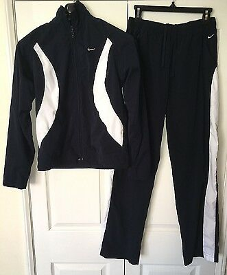 Nike Ladies 90s Vintage Track Suit Size M Jacket Nylon Pants Blue Warmup Set EUC