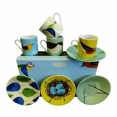 Magpie Birdy Espresso Coffee Cups And Saucers Set- New In Gift Box