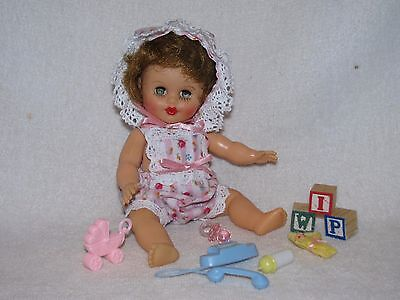 """8"""" Vintage Baby Doll By Cosmopolitan Dressed In Sunsuit With Toys"""