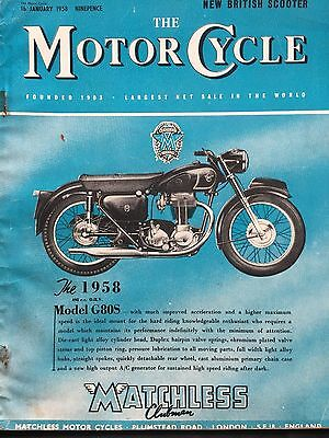 The Motorcycle Magazine # 16/01/1958 # Matchless G80S Cover # Vintage Magazine