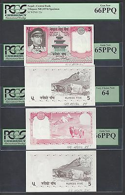 Nepal 4 Progressive Proofs 5 Rupees ND(1985) P23p-23s Uncirculated