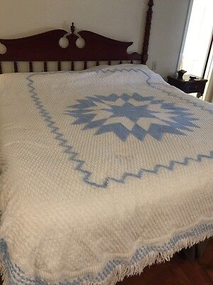 Vintage Chenille White Full Size Bedspread With Blue Star