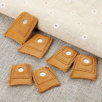 2x Leather Thimbles Sewing Finger Shield Protector With Metal Tip for Embroidery