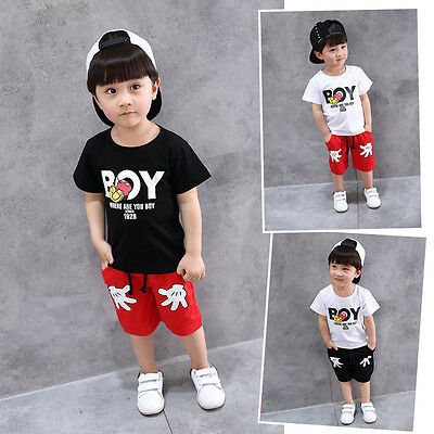 2PCS Toddler Boy Kids Mickey Outfits T-shirt+Shorts Casual Clothes Set Summer