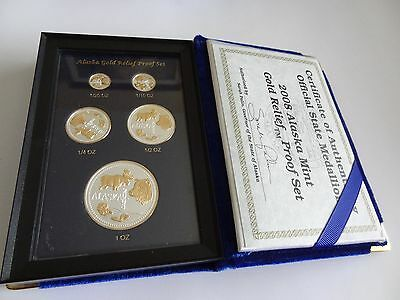 2008 State of Alaska Gold Relief &Silver Proof Set of 5 Coins Sign bySarah Palin