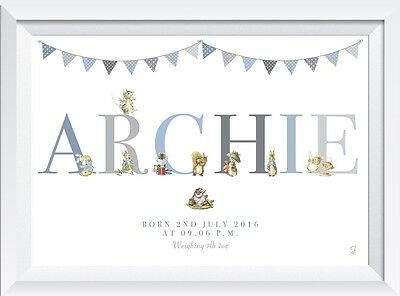 Personalised Peter Rabbit baby name nursery birth print gift christening boy