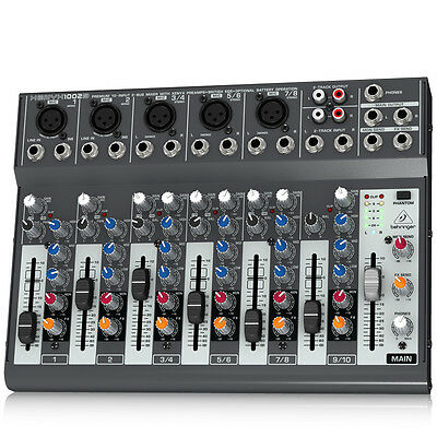BEHRINGER XENYX 1002B 10-In Mixer for Home Studio Recording/Live Sound/Monitor