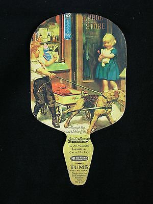 Vintage 1930's Cardboard Advertising Fan Tums, Boy, Girl, Dog - Very Good