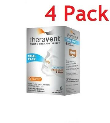 Theravent Snore Therapy Strips, Trial Pack, 6ct, 4 Pack 858076006002A580